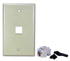 Single Port CAT5e/RJ45 Keystone Jack Beige Wall Plate Kit C5WP-1PK 037229714623 Category 5 - C5 Single Port CAT5E RJ45 Keystone Jack Beige Wall Plate Kit 538322  C5WP1PK C5WP-1PK      2209  microcenter Eckhardt Discontinued