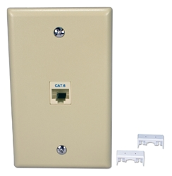 Single Port CAT6 RJ45 Keystone Jack Beige Wall Plate Kit C6WP-1PK 037229714456 Category 6/CAT6 - Wall Plate Single Port Kit, Keystone 110 Jack, CAT6 3P Certified, Straight Thru, Beige, RJ45F/F C5WP-1P + C6JACKB     C6WP1PK C6WP-1PK      2228