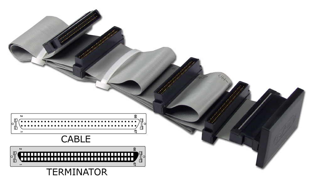 "40 Inches UltraSCSI HPDB68 (MicroD68) Three Drives Ribbon Cable plus a Terminator Connector CC2206-3T 037229223026 Cable, SCSI III/UltraSCSI (SCSI V) Internal Ribbon with Extra Connector for Terminator, Up to 3 Devices, (5) HPDB68M, 40"" 651448  CC22063T CC2206-3T  cables    2432  microcenter Eshelman Discontinued"