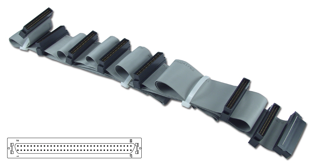 "80 Inches UltraSCSI HPDB68 (MicroD68) Seven Drives Ribbon Cable plus a Terminator Connector CC2206-7T 037229223064 Cable, SCSI III/UltraSCSI (SCSI V) Internal Ribbon with Extra Connector for Terminator, Up to 7 Devices, (9) HPDB68M, 80"" 659417  CC22067T CC2206-7T  cables    2436  microcenter Eshelman Discontinued"