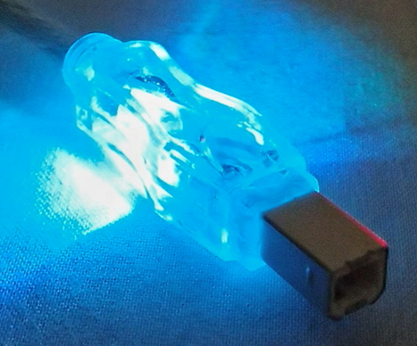 6ft USB 2.0 480Mbps Type A Male to B Male Translucent Lighted Cable with Blue LEDs CC2209C-06BLL 037229229455