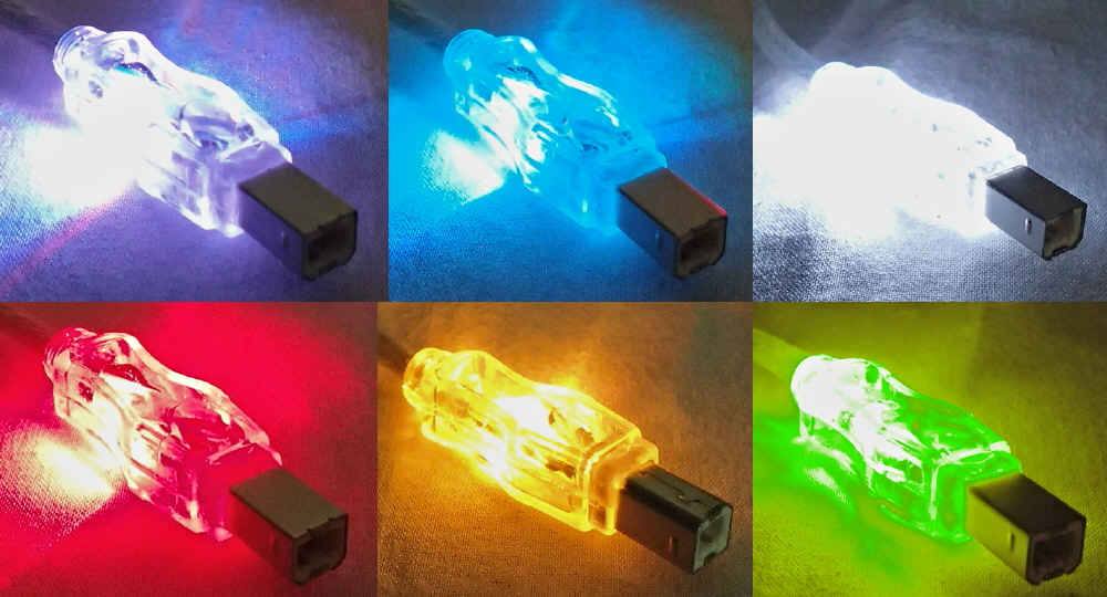 6ft USB 2.0 480Mbps Type A Male to B Male Translucent Lighted Cable with Multi-color LEDs CC2209C-06L 037229229905