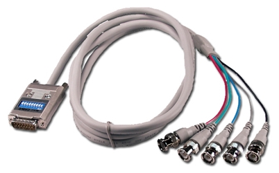 6ft RGB 5BNC Male to Macintosh DB15 Male Adaptor Cable CC2265-06 037229226560 Cable, Apple/Mac to High Resolution RGB/BNC Video with 9 DIP Switches, DB15M/(5)BNC , 6ft CC226506 CC2265-06  cables feet foot   2522