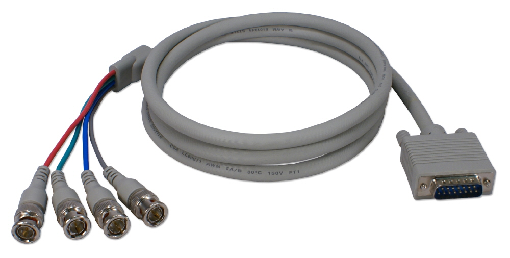20ft Macintosh DB15 Male to 4 BNC Male Adaptor Cable CC2266-20 037229226195