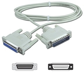 15ft DB25 Male to Female RS232 Serial Null Modem Cable with Interchangeable Mounting CC338-15N 037229338157 Cable, Serial RS232 Null Modem, DB25M/F, 15ft CC337MFS CC338-15