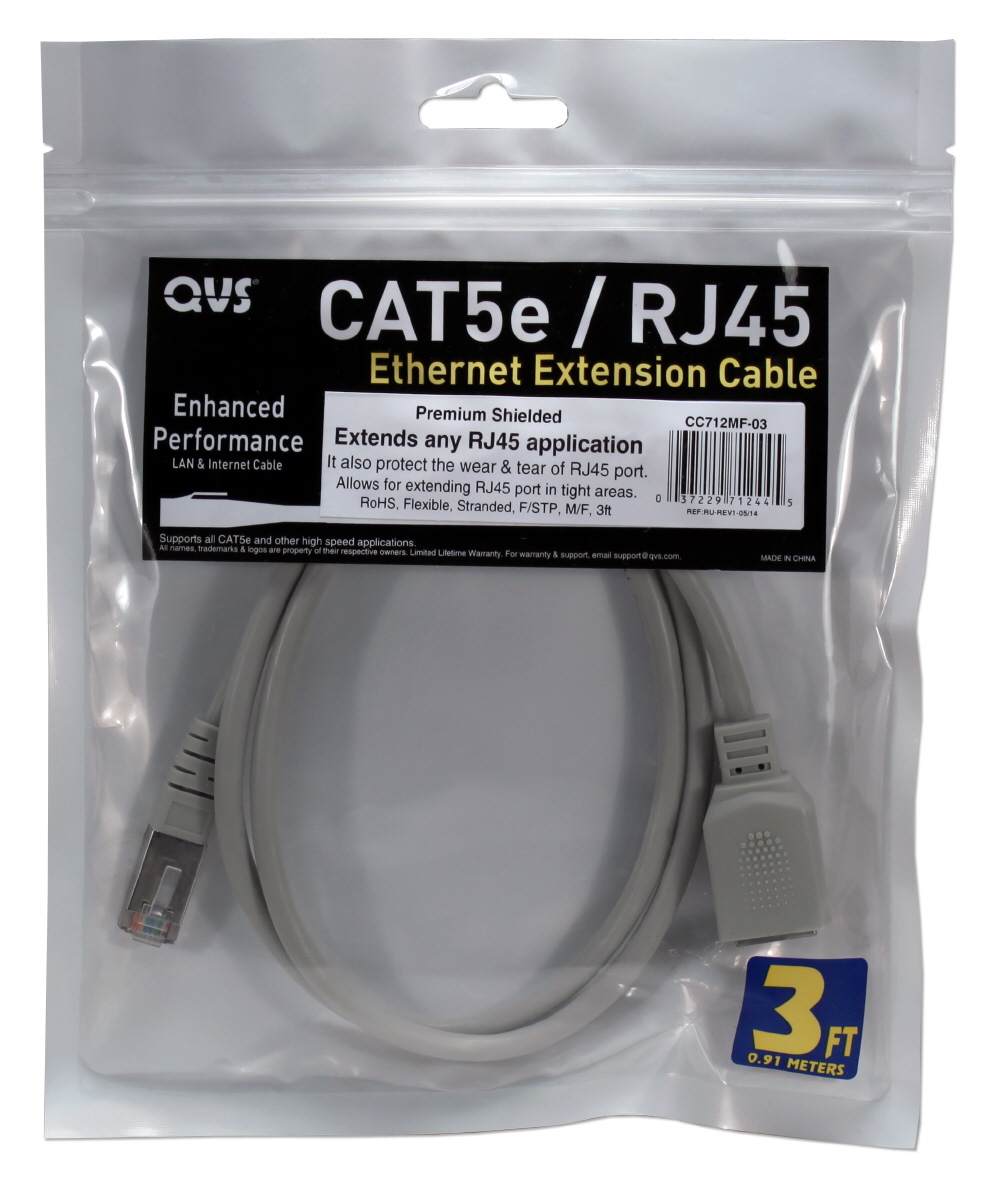 1ft 350MHz CAT5e Ethernet/Telco PortSaver Shielded Gray Patch Cord - CC712MF-01
