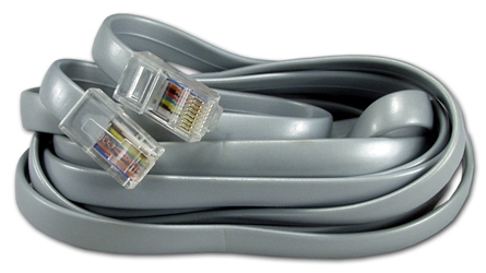 25ft RJ45 Male to Male Telco 8Wires Flat Silver Satin Patch Data Cable CC934-25 037229934250 Telco Flat Data Cable, Straight Thru, Silver Satin, RJ45M/M 8 Wires, 25ft CC93425 CC934-25  cables feet foot   3198