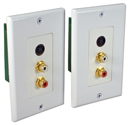 S-Video with Stereo Audio CAT5e Wallplate Extender Kit CSV-C5E 037229007121 S-Video with RCA Stereo Audio Baluns, RJ45/CAT5e/6 Up to 300ft Wallplate Extender Kit, 4Pin/RCA F/F A-1176   CSVC5E CSV-C5E   feet foot   3266