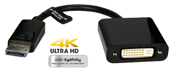 DisplayPort Male to DVI Female 4K/Eyefinity Active Adaptor DPDVI-AMF 037229004977