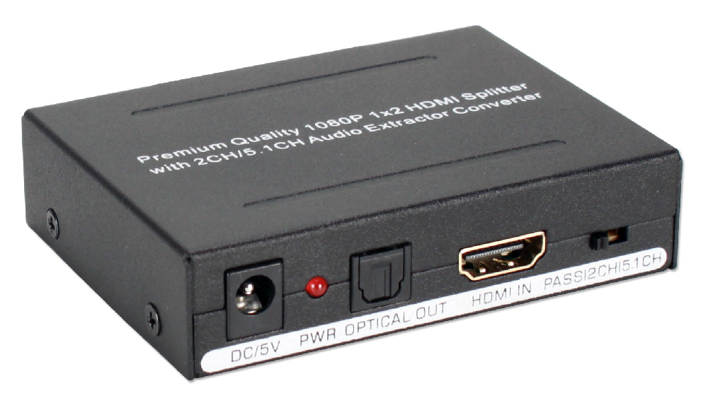 HDMI Audio Extractor with HDMI Pass Through Port & Built-in 2-Port DA HD-ADEX2 037229001839 Converter
