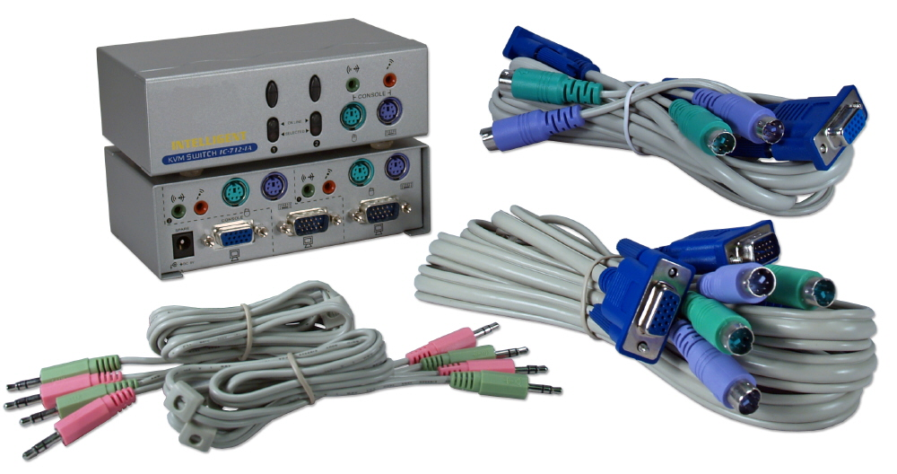 PS/2 2Port KVM with Audio Premium Autoswitch with Combo Cable - KVMS-12A