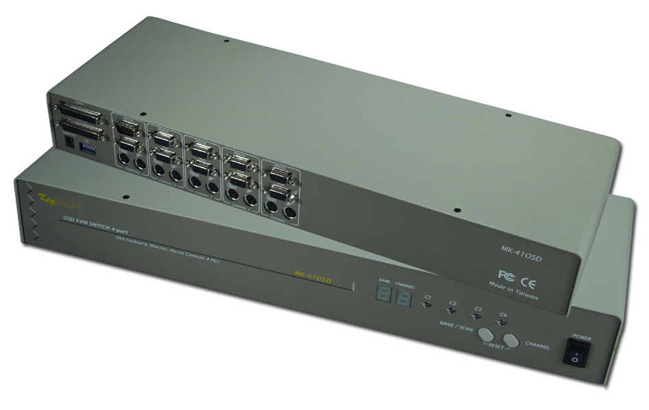 PS/2 & PC/AT 4Port KVM RackMountable Autoswitch with OSD MK-41OSD 037229541410 ServerMaster KVM Keyboard,  Monitor & Mouse Switcher - 4 PC/AT & PS2 Computers Controlled from 1 Console, Cascades with OSD KVM-14RD     MK41OSD MK-41OSD      3616