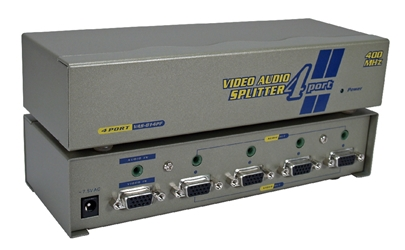 400MHz 4Port VGA Video Splitter/Distribution Amplifier with Audio MSV604P4A 037229006513