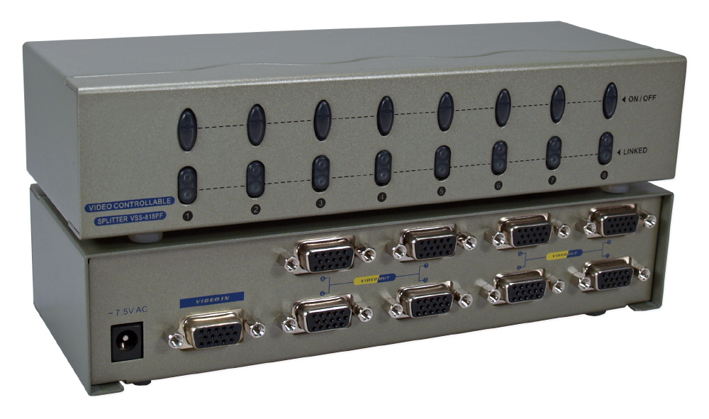 400MHz 8Port VGA Video Splitter/Distribution Amplifier with Port On/Off Switch MSV608P4PC 037229006551