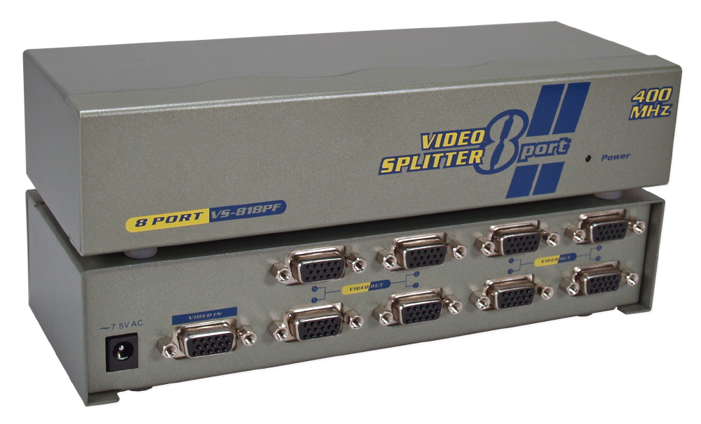 400MHz 8Port VGA Video Splitter/Distribution Amplifier MSV608P4 037229006193 Video Signal Splitter/Multiplier/DA/Distribution Amplifier with Built-in Booster, Up to 8 Video, 400MHz, Supports VGA/SVGA/XGA/Multisync/DDC and up to 2760x1600 Resolution, HD15 Connectors VS-818PF   MSV608P4 MSV608P4      3641