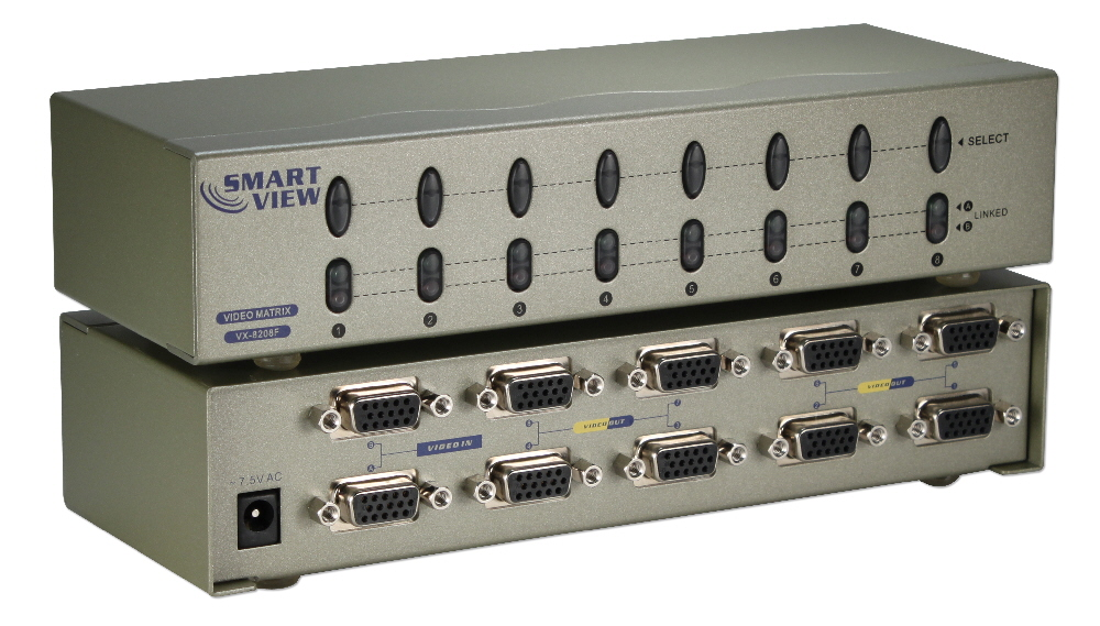 250MHz 8Port VGA Video Matrix Switch (2x8) MSV608PHX2 037229006582 Video Share/Splitter/DA/Distribution Amplifier (Matrix) with Built-in Booster, 2PCs Share/Control 8 Video, 250MHz Supports VGA/SVGA/Multisync and up to 1920x1440, HD15 Connectors AC509A VX-8208F   MSV608PHX2 MSV608PHX2      3645