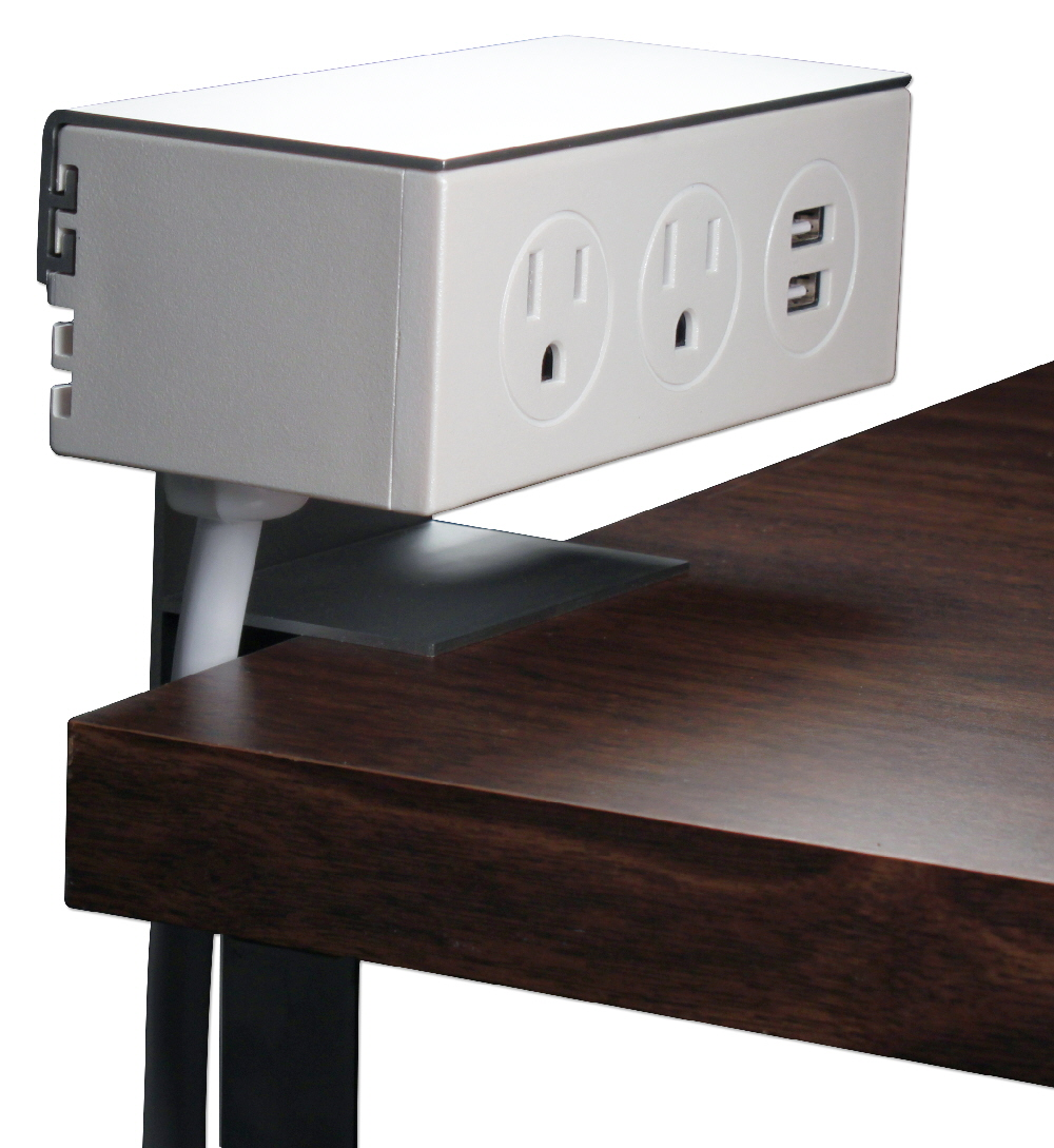 Adjustable Deskmount Dual-Power Outlets with Dual-USB 2.1Amp Charger & 10ft Power Cord - P2P2U-10