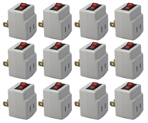 12-Pack Single-Port Power Adaptor with Lighted On/Off Switch PA-1P-12PK 037229231137