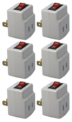 6-Pack Single-Port Power Adaptor with Lighted On/Off Switch PA-1P-6PK 037229231120