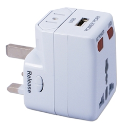 Premium World Power Travel Adaptor Kit with Surge Protection and 1Amp USB Charger PA-C2 037229334128 3-in-1 Global/World Power Travel Power Adaptor with USB Wall Charger for US, UK, Europe, Asia and more WP-300A 243956 KV7012 PAC2 PA-C2 adapters adaptors     3973 IMCE microcenter Nick Sciarini Approved