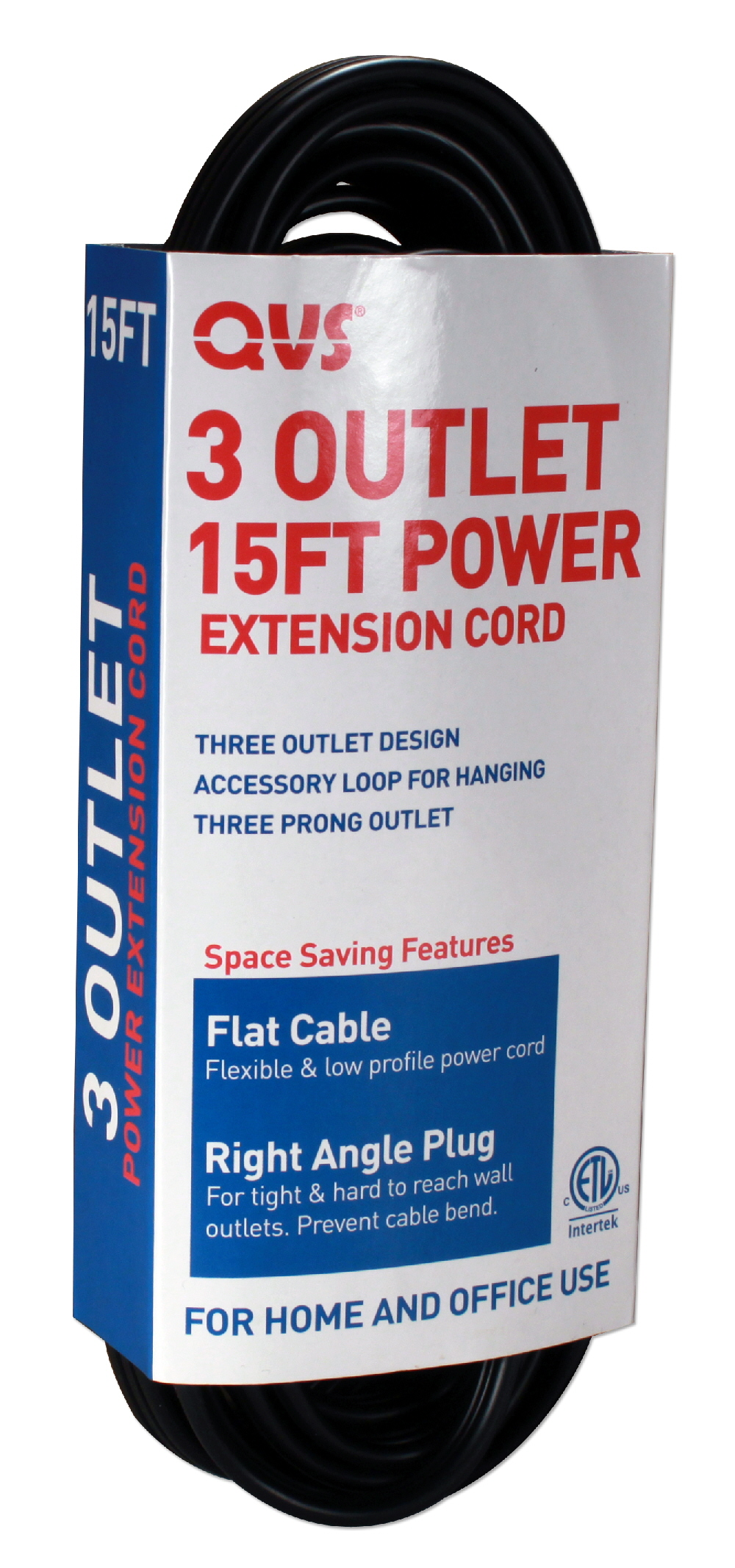 3-Outlet 3-Prong 15ft Flat Right-Angle Power Extension Cord - PC3RX-15