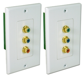 HDTV Component Video CAT5e Wallplate Extender Kit RCA3V-C5E 037229007107 3RCA HDTV Component Video Baluns, RJ45/CAT5e/6 Up to 300ft Wallplate Extender Kit, RCA F/F A-1170  CL5977 RCA3VC5E RCA3V-C5E   feet foot   3724 IMCE