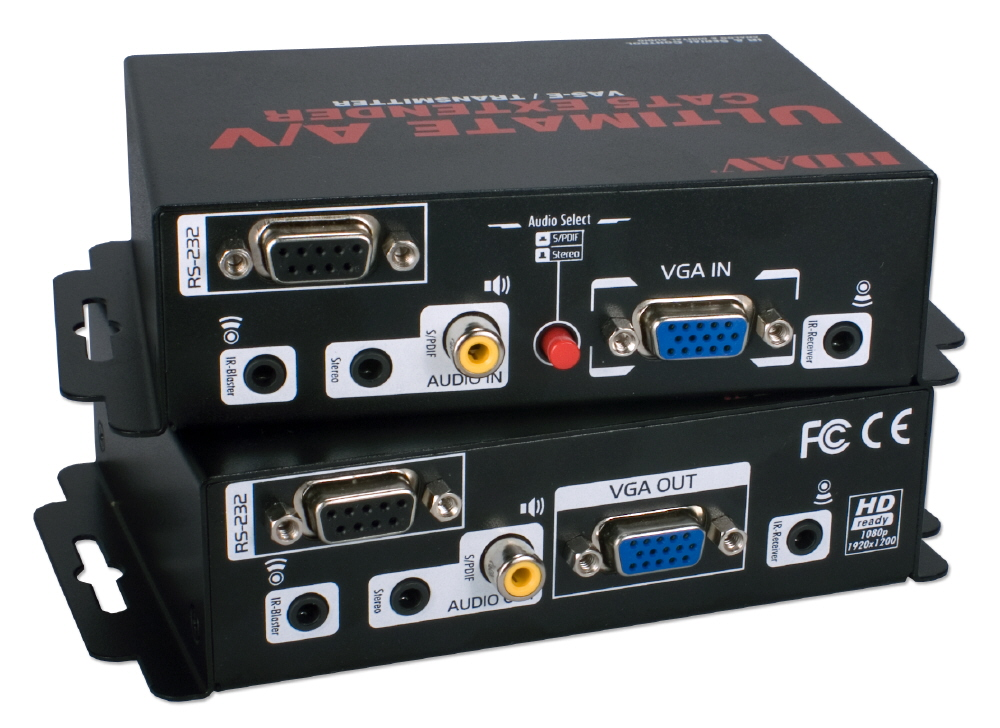 Ultimate A/V plus Serial/IR Control Single CAT5e/6 300M Extender Kit VAS-E 037229007152 Ultimate AV CAT5e/CAT6 Extender Kit with VGA Video/Stereo & Multichannel SPDIF Digital Audio/Serial RS232/IR Infra-Red up to 330Meters/1000ft CV-937  CB4721 VASE VAS-E   feet foot meters  1979 IMCE