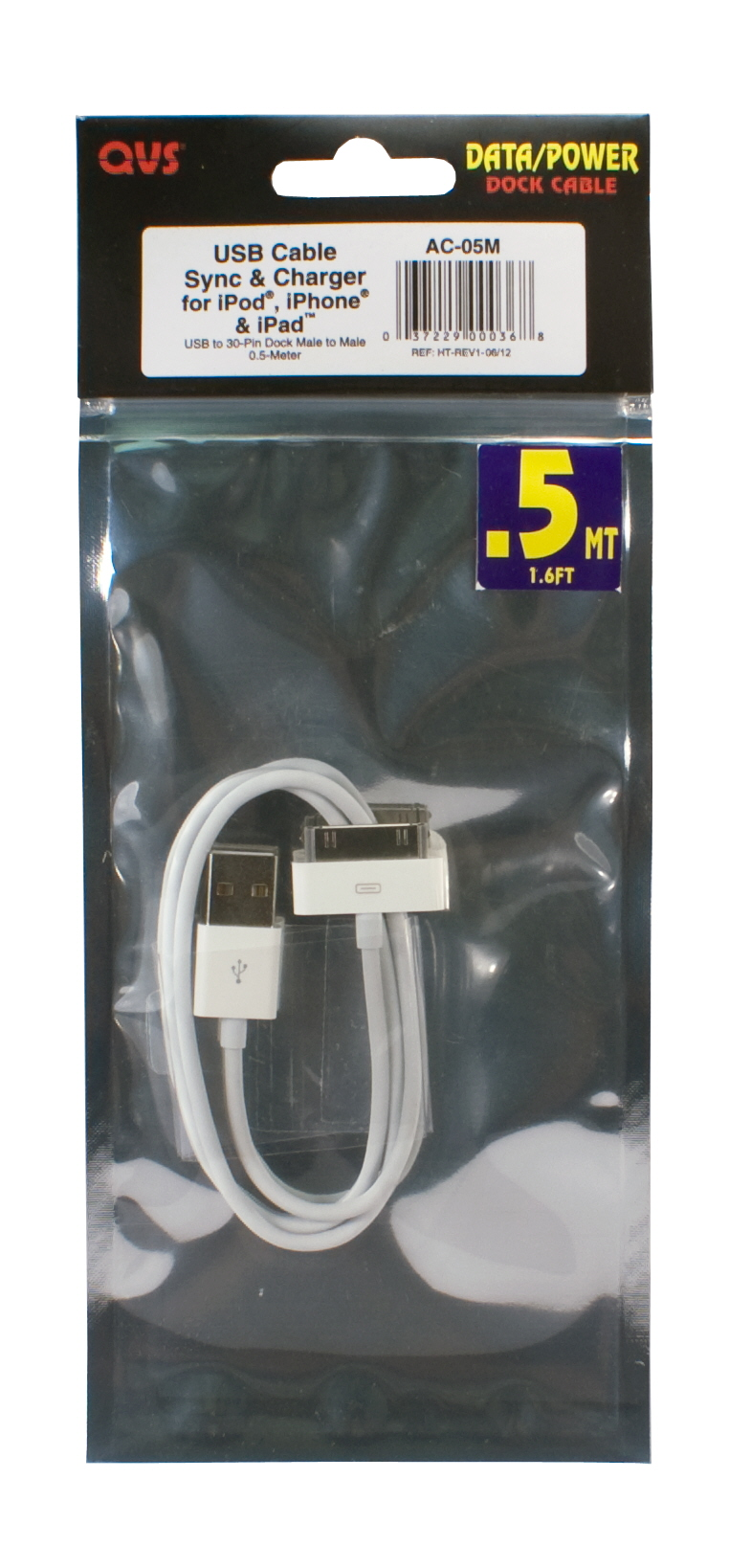 0.5-Meter USB Sync & 2.1Amp Charger Cable for iPod/iPhone & iPad/2/3 - AC-05M