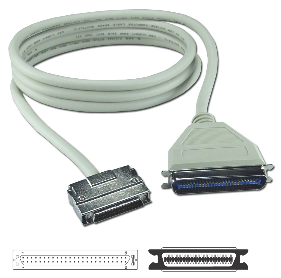 3ft SCSI HPDB50 (MicroD50) Male to Cen50 Male Premium External Cable CC394D-03 037229494037 Cable, SCSI II to Cen50 SCSI, HPDB50M/Cen50M, 25 Twisted Pairs, 3ft (Clip Type) 136085  CC394D03 CC394D-03  cables feet foot   2756  microcenter Carrico Discontinued