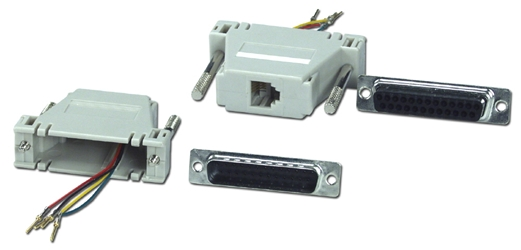 DB25 Male to RJ11 Female Serial/Terminal Modular Adaptor CC434-4 037229334401 Adaptor, Serial RS232 to RJ11 4Wires Modular, RJ11F/DB25M (Custom Pin-Out Application) CC434     CC4344 CC434-4 adapters adaptors     2824