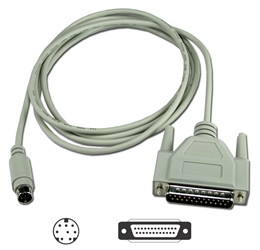 10ft DB25 Male to Mini8 Male Apple Computer ImageWriter Printer Cable CC505-10 037229505108 Cable, Apple IIe to ImageWr II, DB25M/Mini8M, 10ft CC50510 CC505-10  cables feet foot   2836