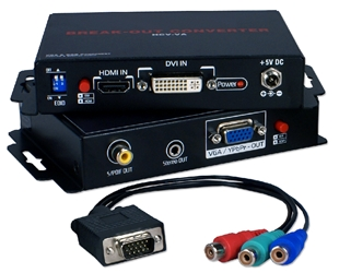 HDMI/DVI HDTV/HDCP to VGA/RGB 720p/1080p Break-Out Converter HCV-VA 037229007763