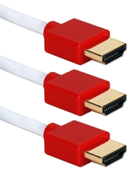 3ft 3-Pack High Speed HDMI UltraHD 4K with Ethernet Thin Flexible White Cables with Red Connectors HDT-3F-3PR 037229401844