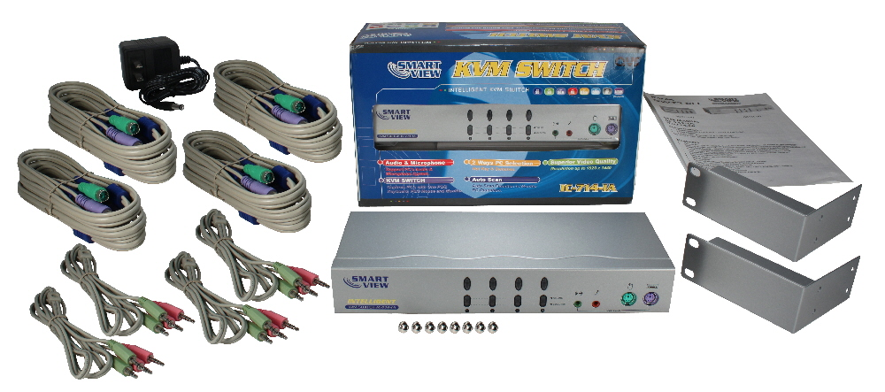 PS/2 4Port KVM with Audio Premium Autoswitch with Combo Cable - KVMS-14A