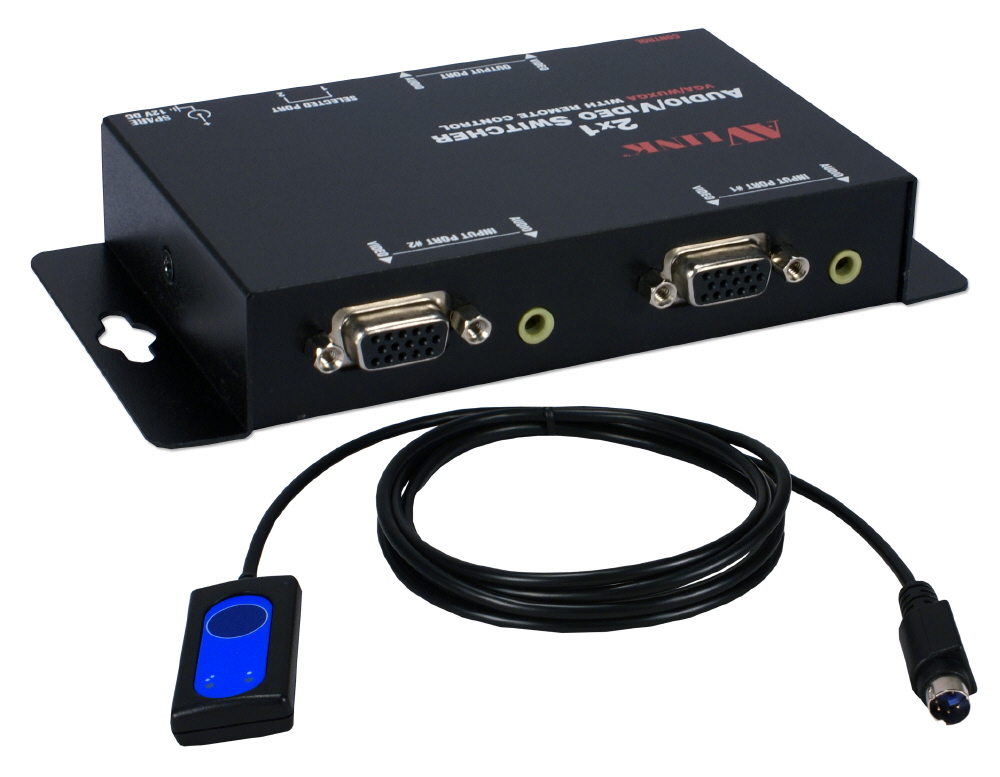 2x1 250MHz 2Port VGA Video/Audio Share Switch with Remote Control Cable - MSV21A