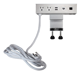 Adjustable Deskmount Dual-Power Outlets with Dual-USB 3.5Amp Charger & Dual-CAT6 Ports P2P2UR-10 037229232912