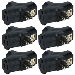 6-Pack 3-Outlets Space-Saver Grounded Power Outlet Splitter PA-3P-6PK 037229231168