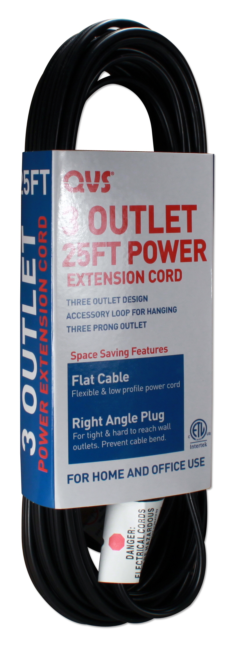 3-Outlet 3-Prong 25ft Flat Right-Angle Power Extension Cord - PC3RX-25