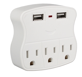 3-Outlets Wallmount Power Strip with Dual-USB 2.1Amp Charging Ports PS-05UW 037229334586 5-Outlets 3-Prong Wallmounted Power Block/Strip/Tap 3-AC/2-USB 2.1Amp Charger for Smartphone, Tablet & GPS, White PS-06UH     PS05UW PS-05UW      3954  microcenter Zachary Sheets Pending