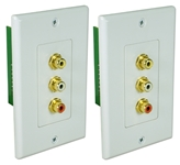 Composite Video with Stereo Audio CAT5e Wallplate Extender Kit RCA3AV-C5E 037229007138 RCA Composite Video with Stereo Audio Baluns, RJ45/CAT5e/6 Up to 300ft Wallplate Extender Kit, RCA F/F A-1177  CL5976 RCA3AVC5E RCA3AV-C5E   feet foot   3716 IMCE